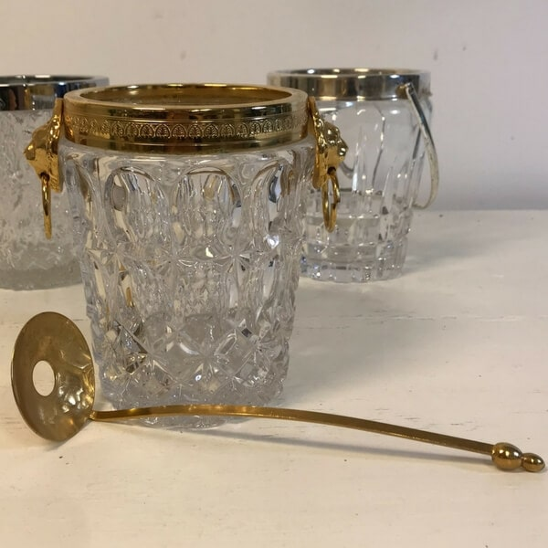 Gold trimmed ice bucket and spoon