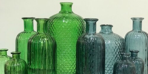 Coloured Glass bottles at Sar Hughes