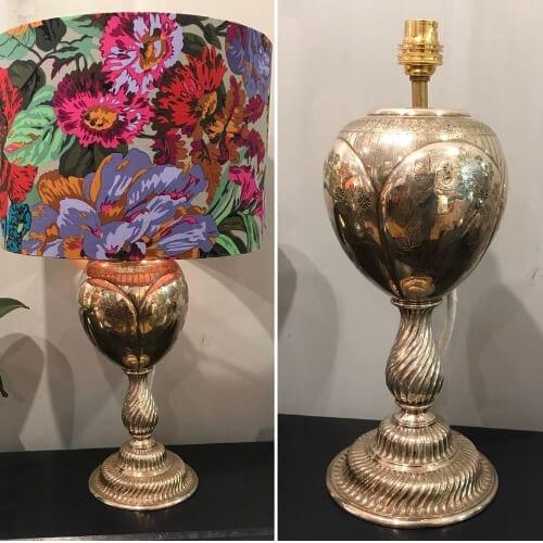hand made lamp shade, lamp base