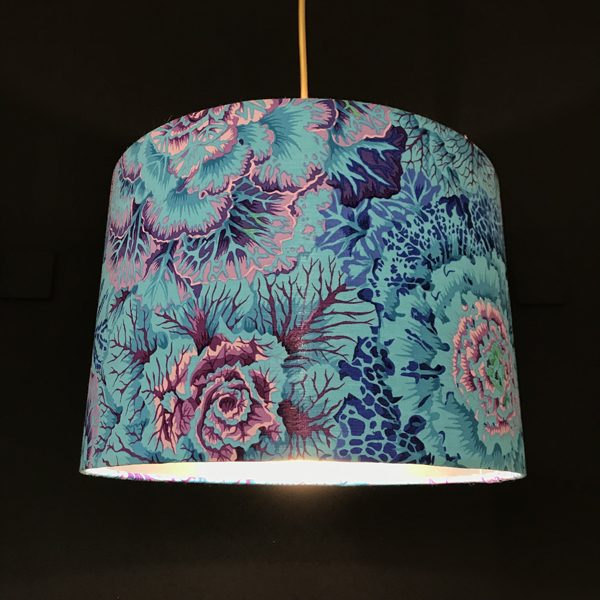 handmade lampshades blue and lilac floral