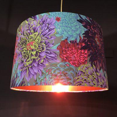handmade lampshade grey and pink chrysanthemum