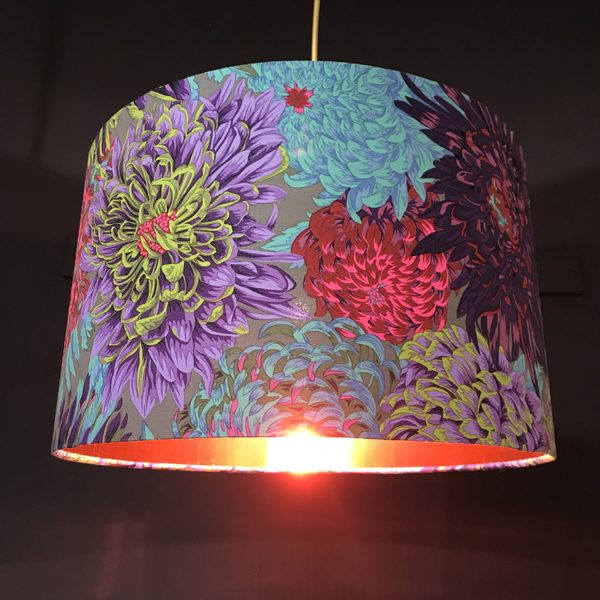 handmade lampshade grey and pink chrysanthemum
