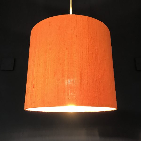 Handmade lampshade orange silk