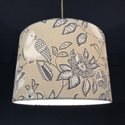 Handmade lampshade pretty grey birds