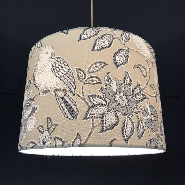 Handmade lampshade pretty grey birds