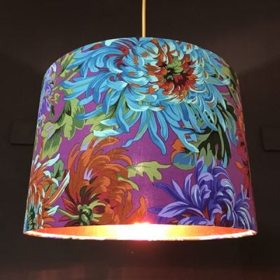 Handmade lampshade purple chrysanthemum by sara hughes