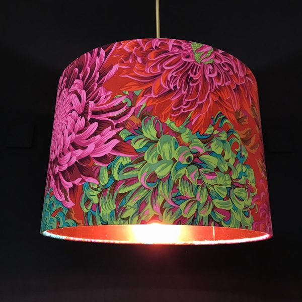 Handmade lampshade red chrysanthemum