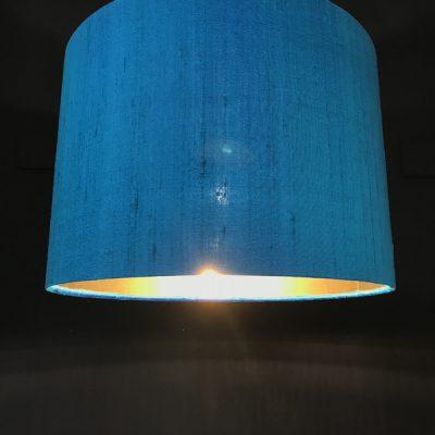 Handmade lampshade turquoise silk