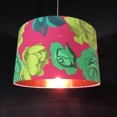 handmade lampshade green roses