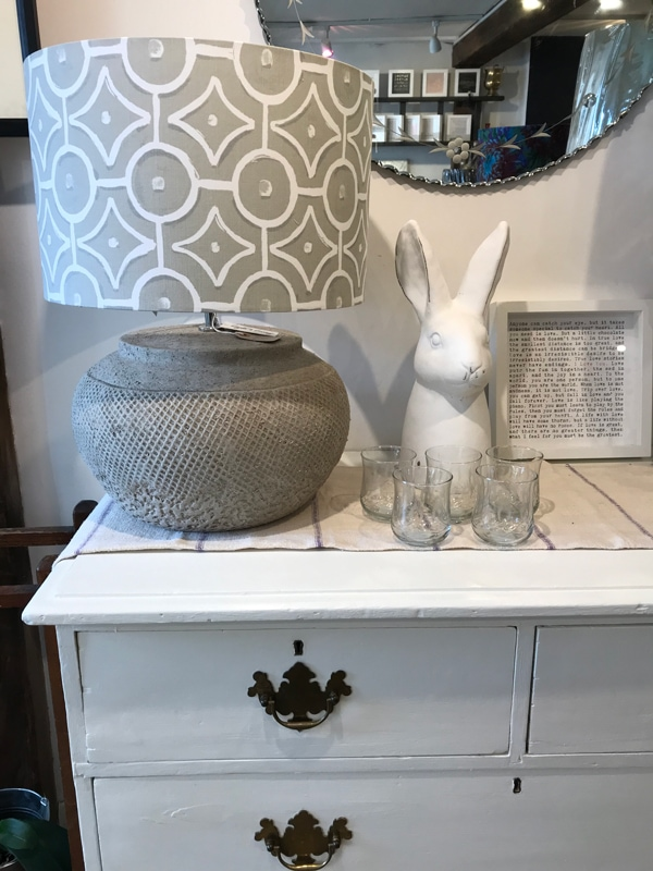Grey and white lampshade and accessories