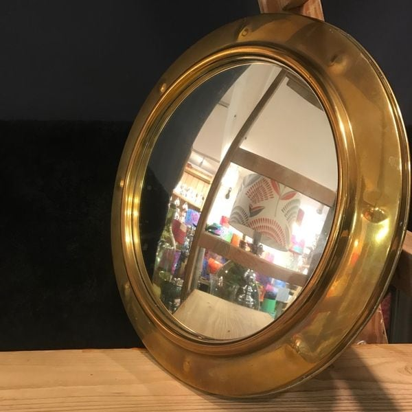 brass famed convex mirror