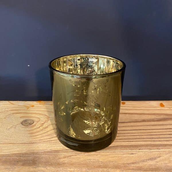 Glass tea light, green