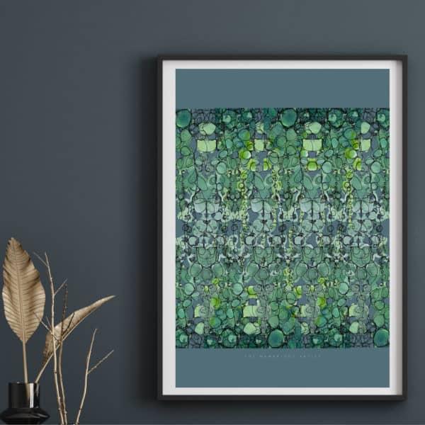 Hambridge Artist emerald leaves art print