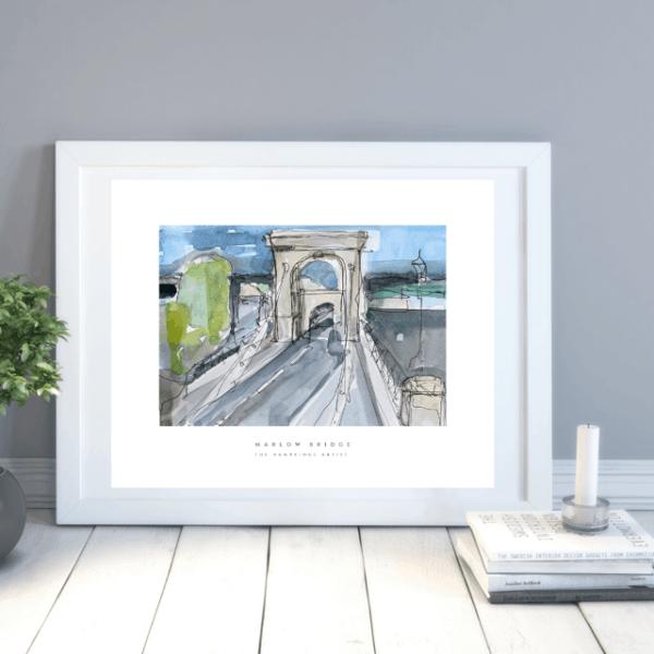 Marlow bridge art print by the hambridge artist