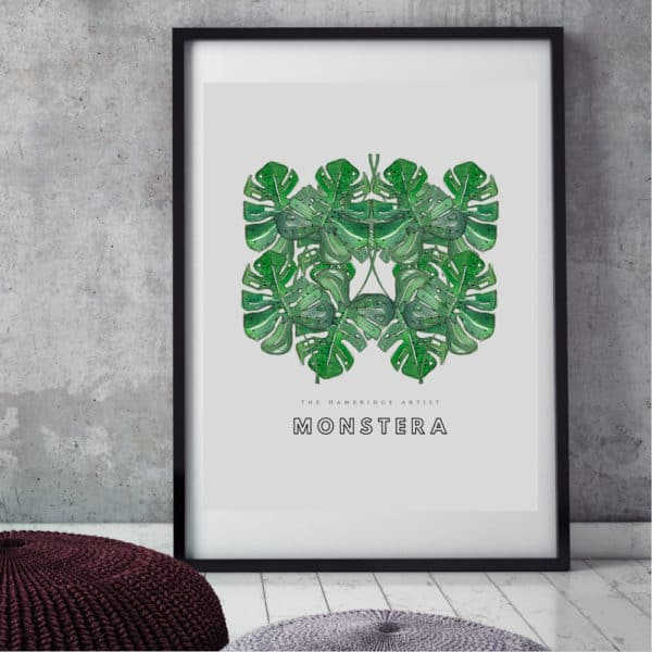Hambridge Monstera leaves art print