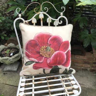 Peony botanical garden cushion