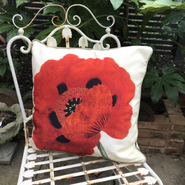 Poppy botanical garden cushion
