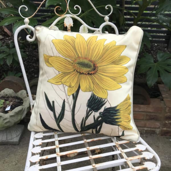 Sunflower botanical garden cushion