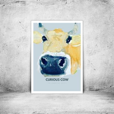 Hambridge Artist curious cow art print